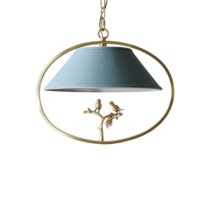 Bird Chandelier Brass Fabric Rustic Hanging Bedroom