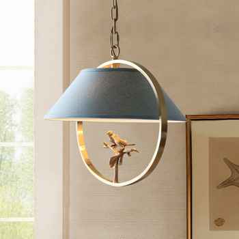 Bird Chandelier Brass Fabric