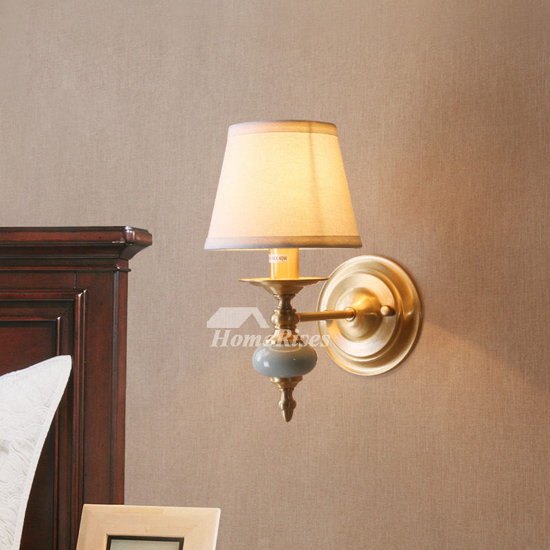 Decorative Wall Sconces Fabric Brass Rustic Lighting