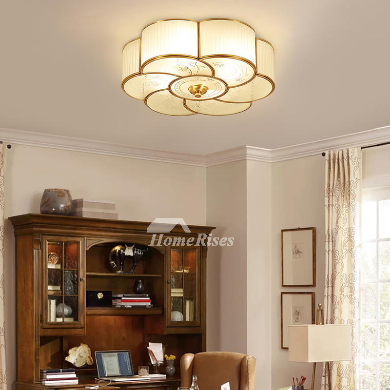 Flush Mount Ceiling Light Glass 3 4 Light Brass Bathroom