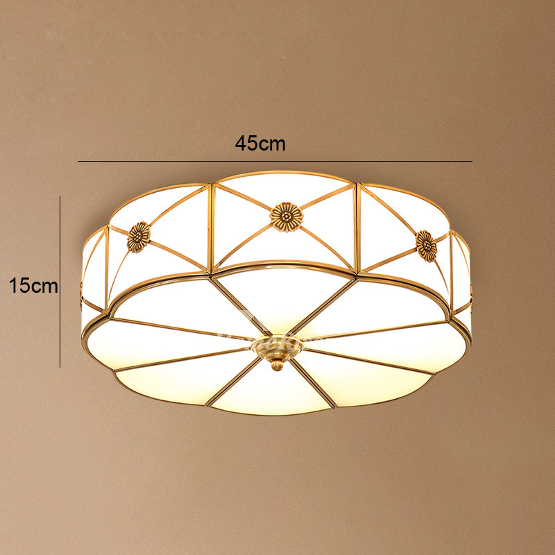 Bedroom Ceiling Lights Brass Glass Flush Mount Living Room Fixture