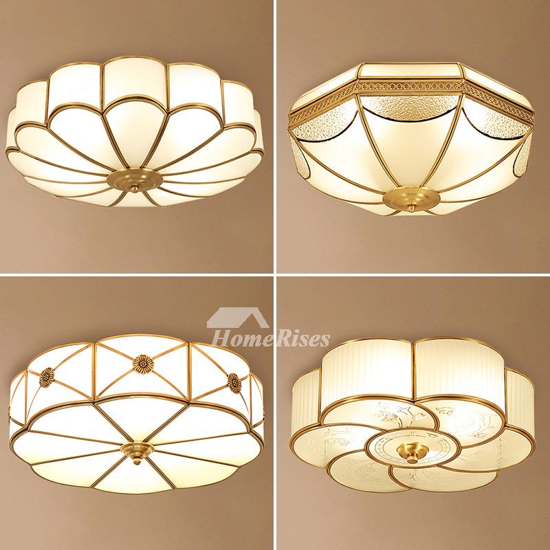 Bedroom Ceiling Lights Brass Glass Flush Mount Living Room