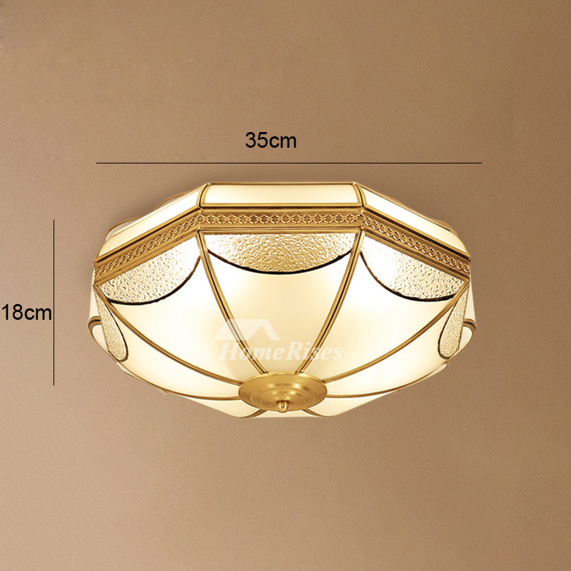 Flush Mount Ceiling Light Fixtures Brass Glass 3/4 Light Living Room