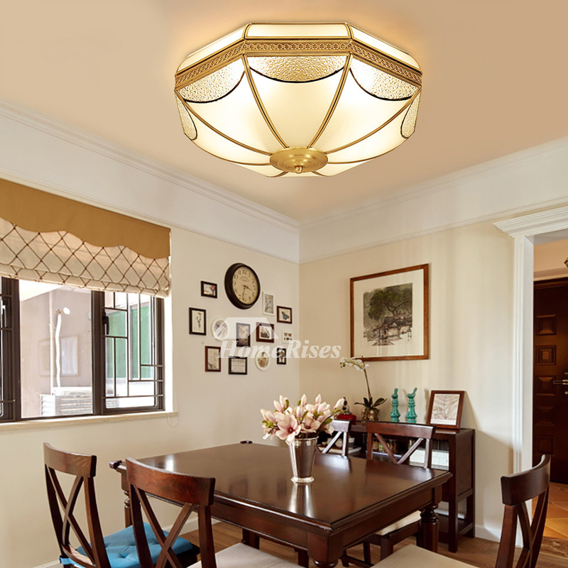 Flush Mount Ceiling Light Fixtures Brass Glass 3 4 Light