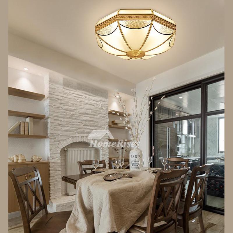 Flush mount ceiling light fixtures brass glass 3 4 light - Living room ceiling light fixture ...