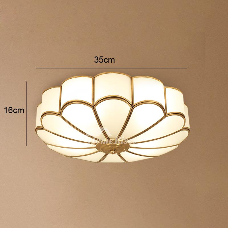 Brass Ceiling Lights Flush Mount Fixture Gold Glass 3/4 Light Bedroom