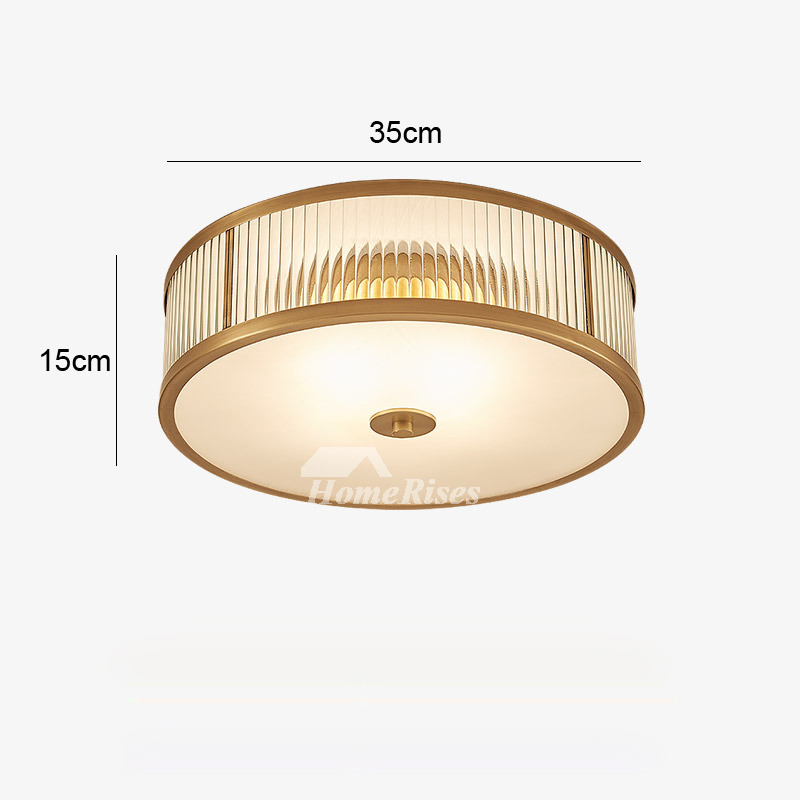 Ceiling mount light fixture glass flush brass gold drum bedroom aloadofball Gallery