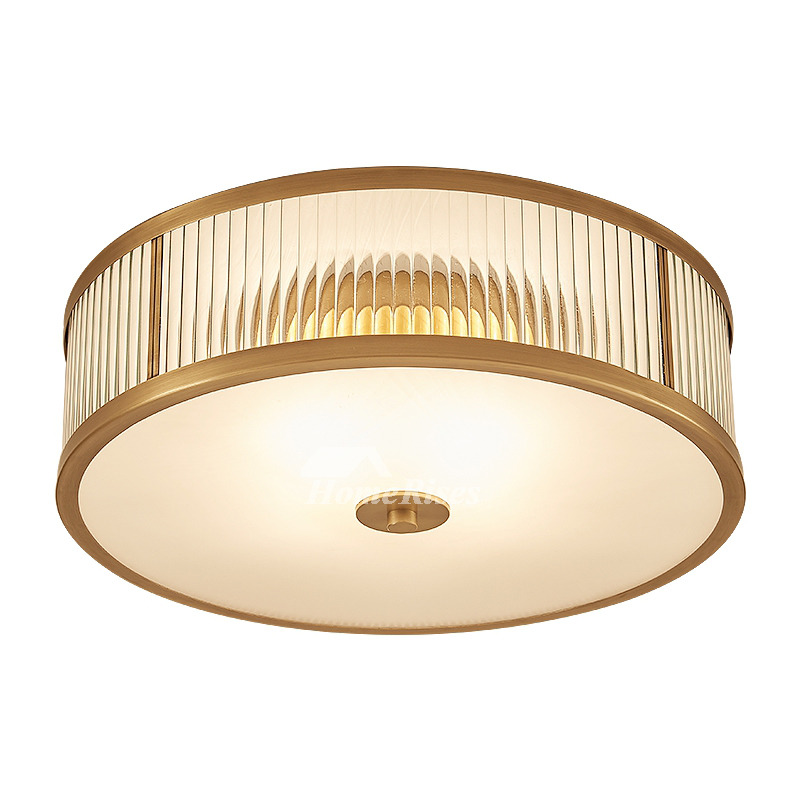 Ceiling mount light fixture glass flush brass gold drum bedroom aloadofball Choice Image