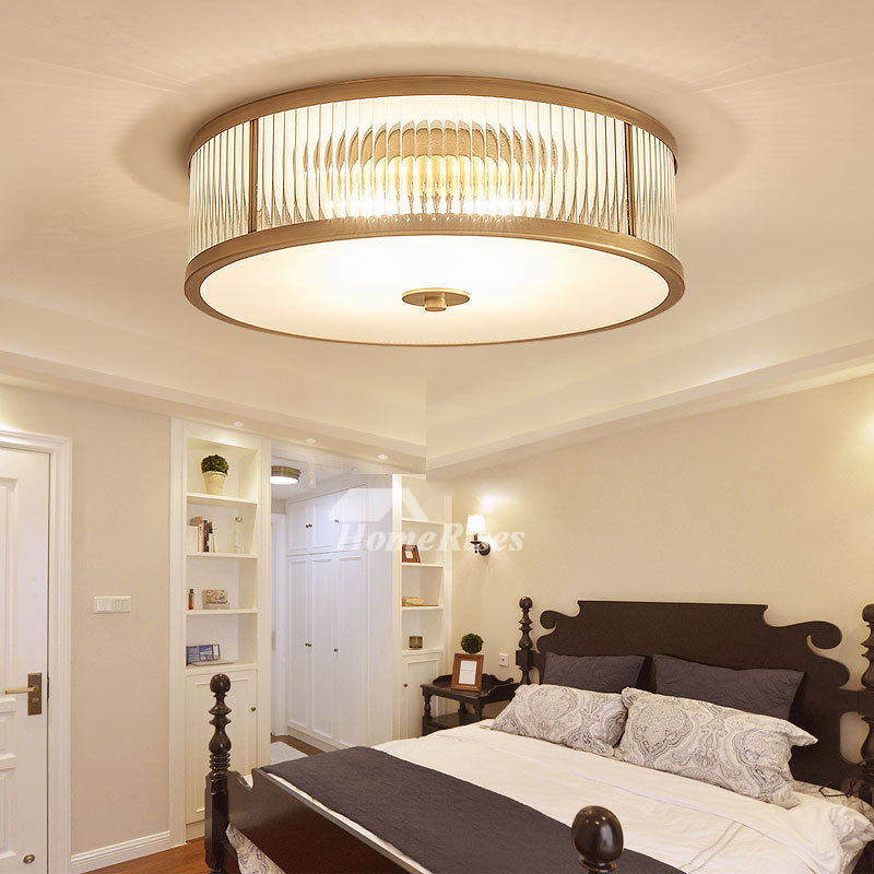 Bathroom Light Fixtures >> Ceiling Mount Light Fixture Glass Flush Brass Gold Drum Bedroom