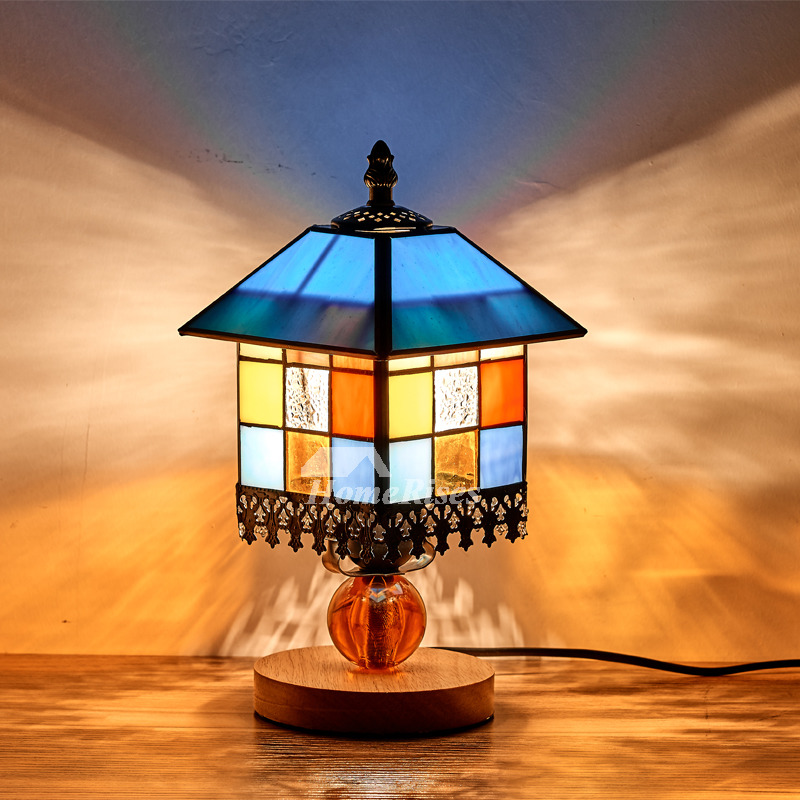Tiffany Table Lamps Style House Bedroom Stained Glass Wrought Iron