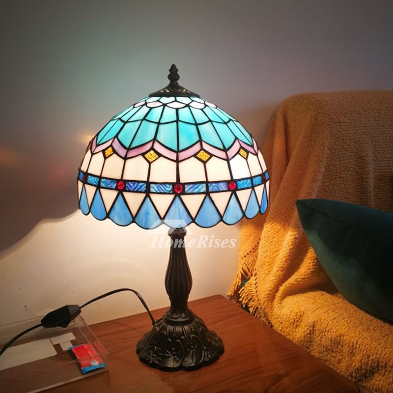 Tiffany Style Table Lamps Stained Glass Wrought Iron