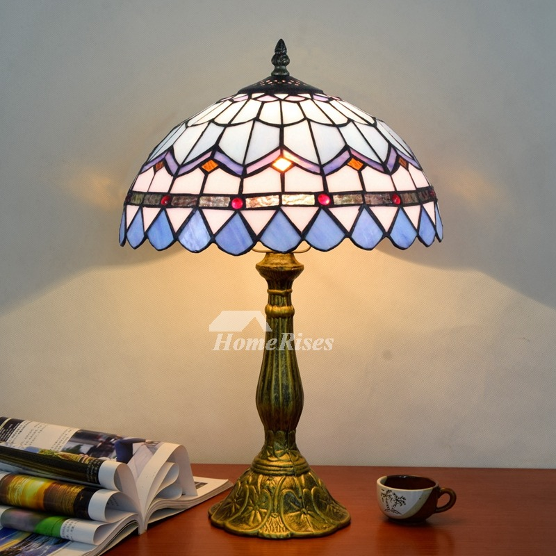 Tiffany Table Lamp Carved Stained Glass Alloy Bedroom