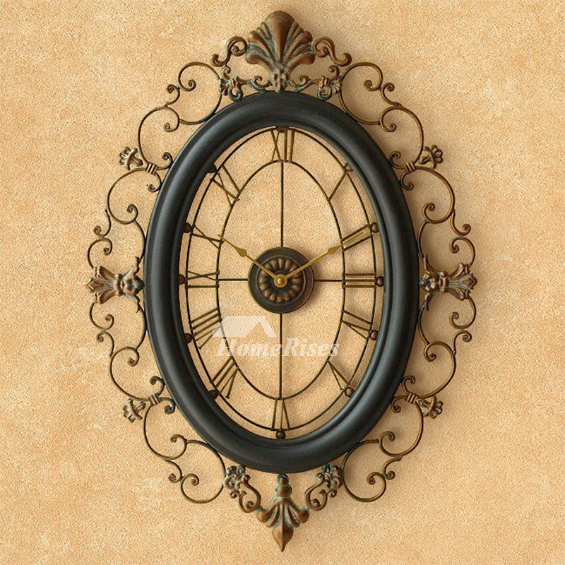Long Wall Clocks Oval Wrought Iron 18 Inch Large Black Art Deco Skeleton