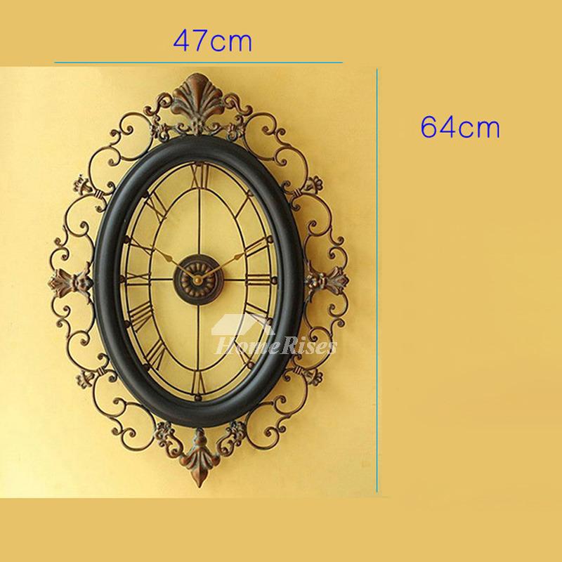 Long Wall Clocks Oval Wrought Iron 18 Inch Large Black Art