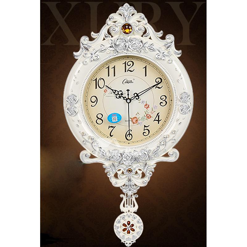 Pendulum Wall Clock Whitebrown 12 Inch Living Room Antique Quiet