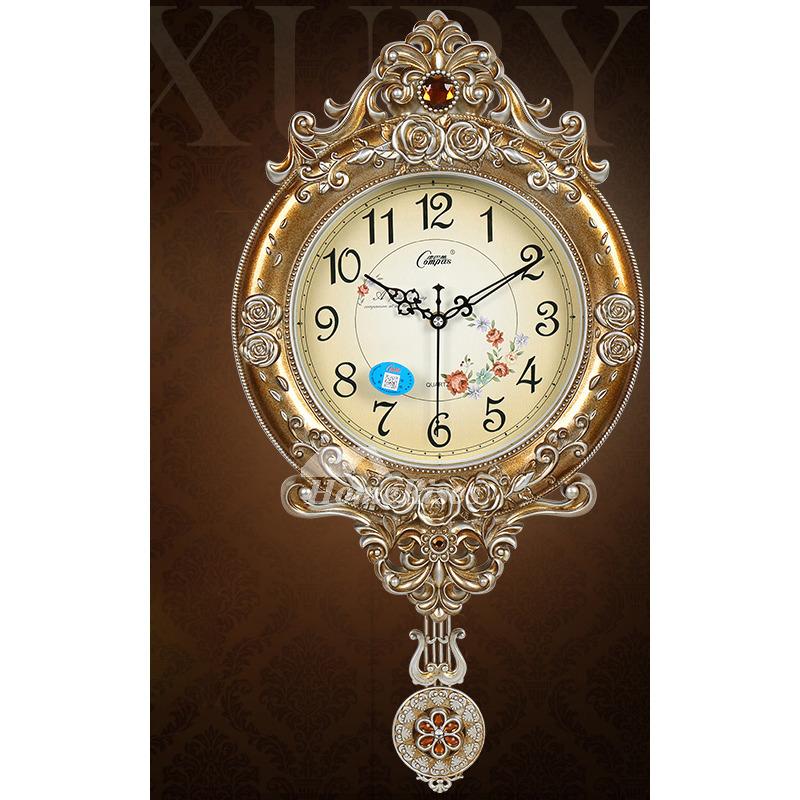 Rustic 12 Inch Wall Clock Pendulum Round Plastic Hanging