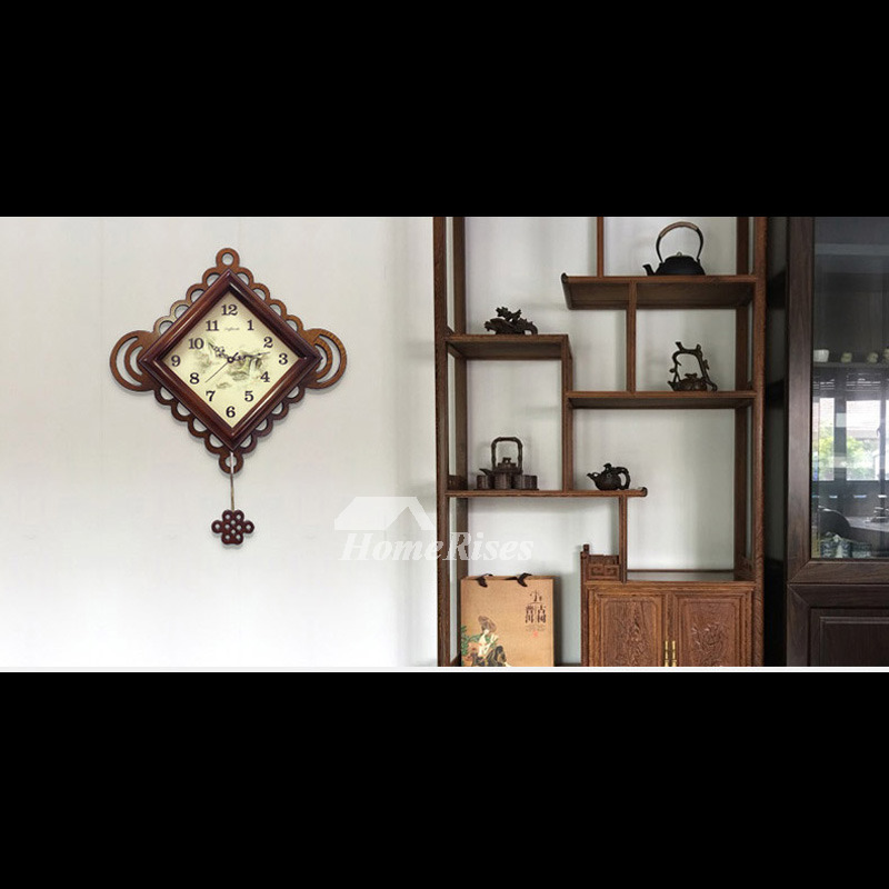 Wooden Wall Clock Pendulum Decorative Quiet Vintage Rustic