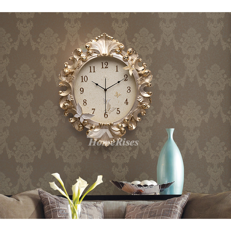 Gold Wall Clock Luxury Resin 18 Inch Large Art Deco Analog