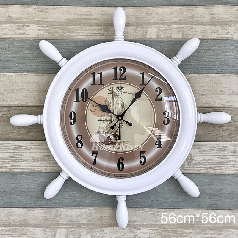 Nautical Wall Clock Brown White Blue Kids Beach 22 Inch