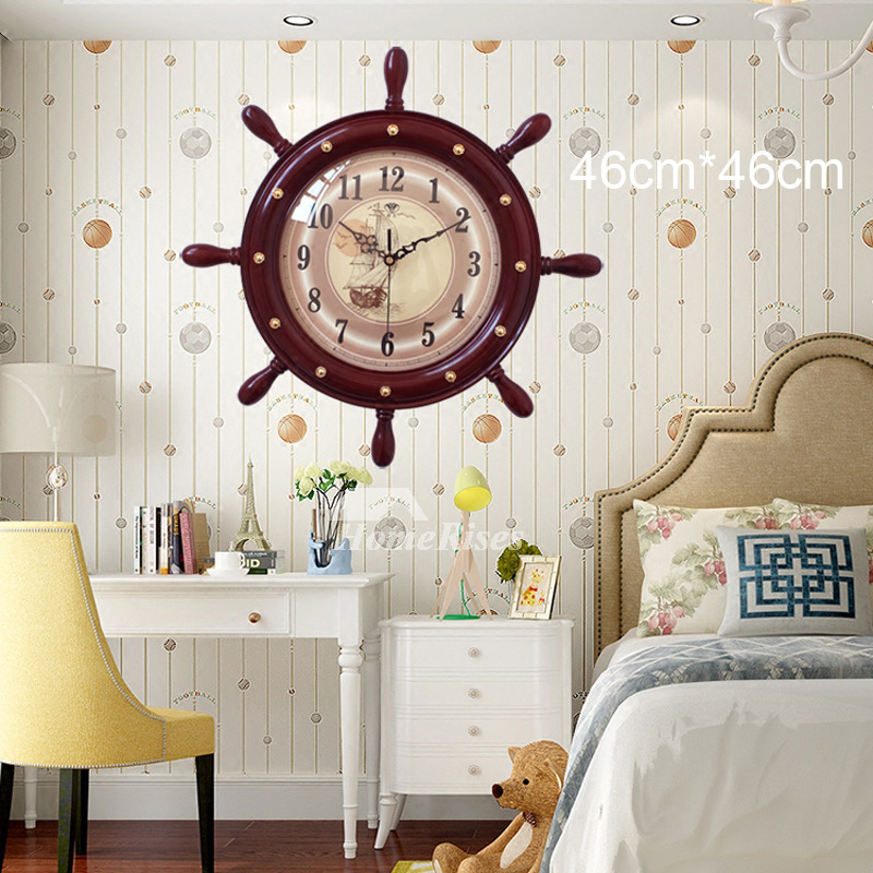 Large 18 Inch Nautical Wall Clock Beach Themed Hanging