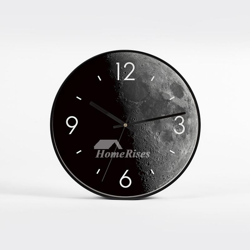 Cool Creative Wall Clocks 12 Inch Round Metal Glass Living Room Black