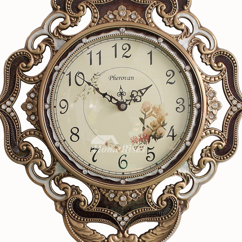 Brass Wall Clock Pendulum Gold Vintage Rustic Hanging Art
