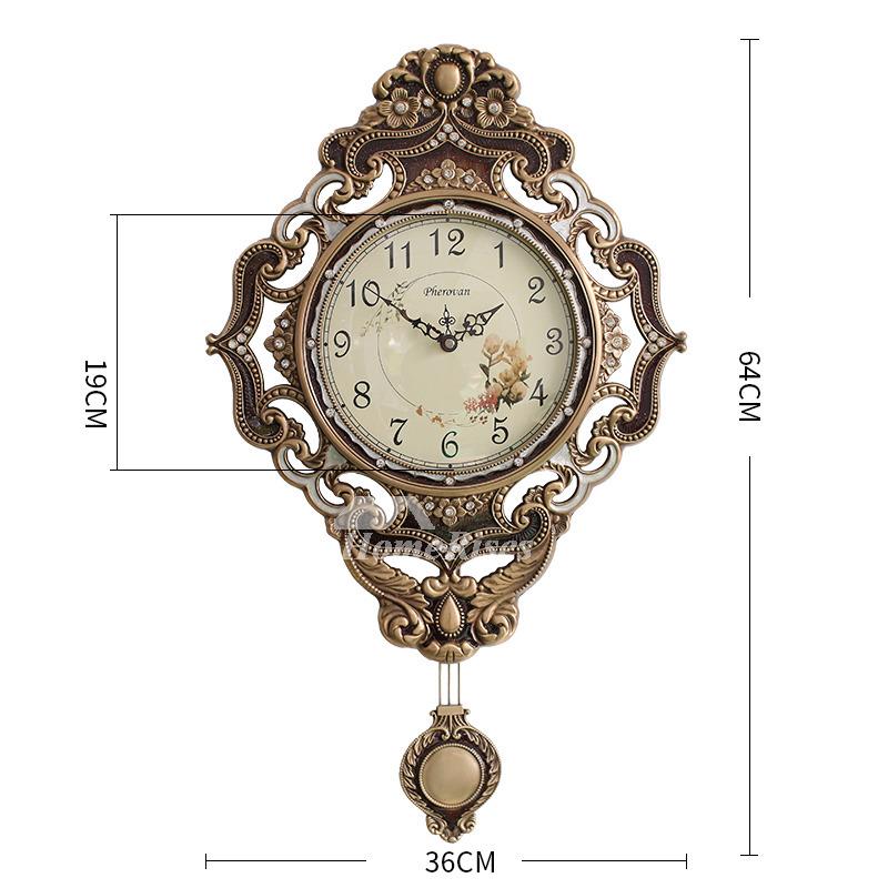 Brass Wall Clock Pendulum Gold Vintage Rustic Hanging Art