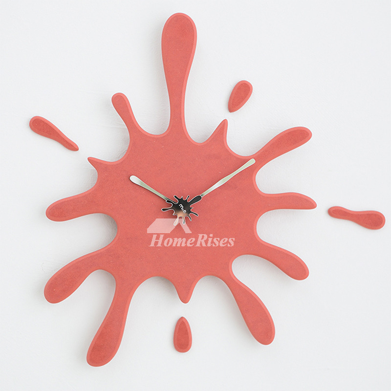 Cool Clocks Wooden 20 Inch Oversized Black/Red Kitchen Quiet Creative