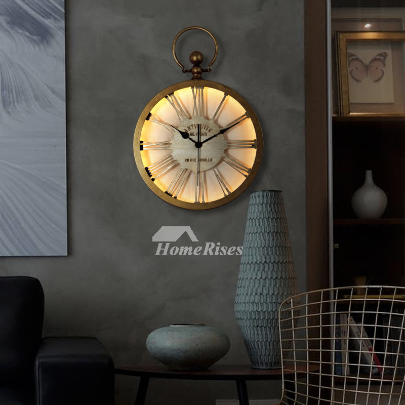 Led Wall Clock Wrought Iron Round Quiet 14 16 Inch Gold
