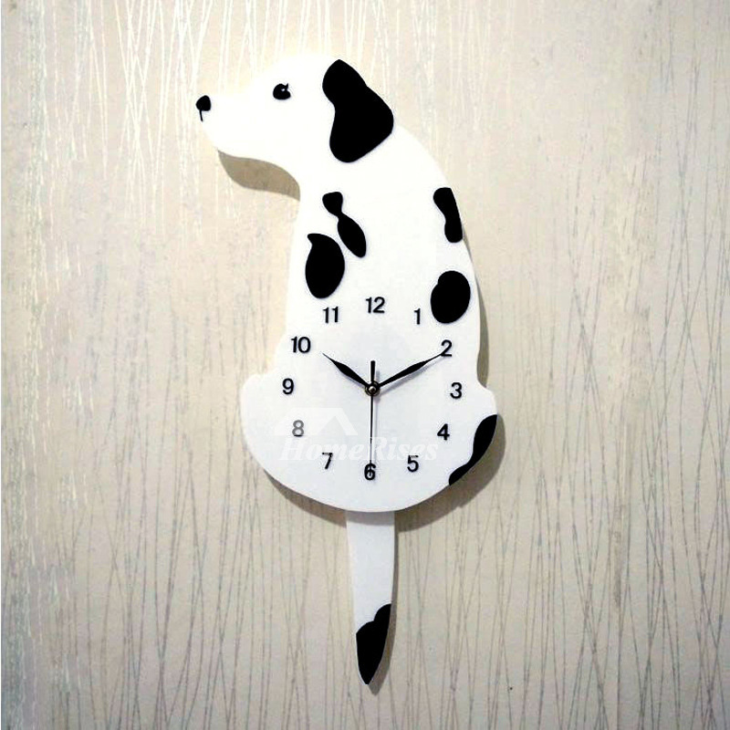 Unique Wall Clocks Dog Red White Novelty Quartz Kids Cheap