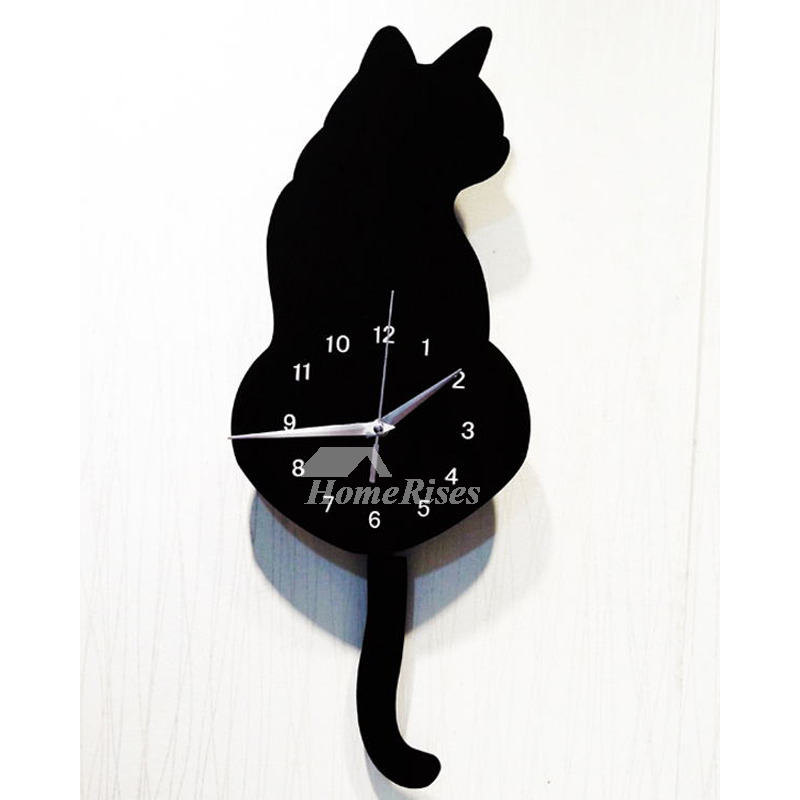 Cat Wall Clock Colorful Black Unique Decorative Quiet Kids