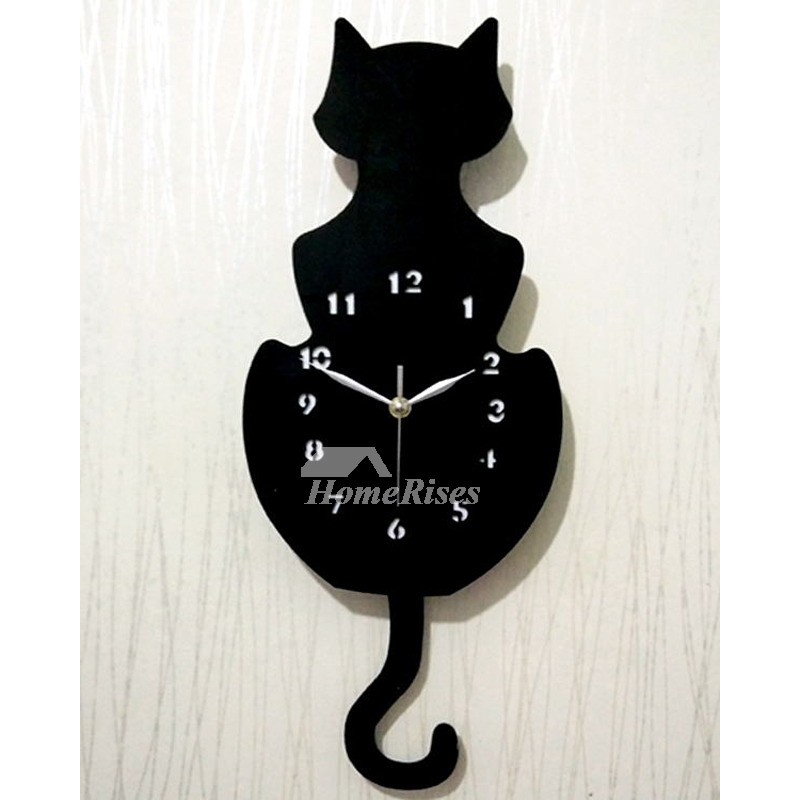 Cat Wall Clock Colorful Black Unique Decorative Quiet Kids