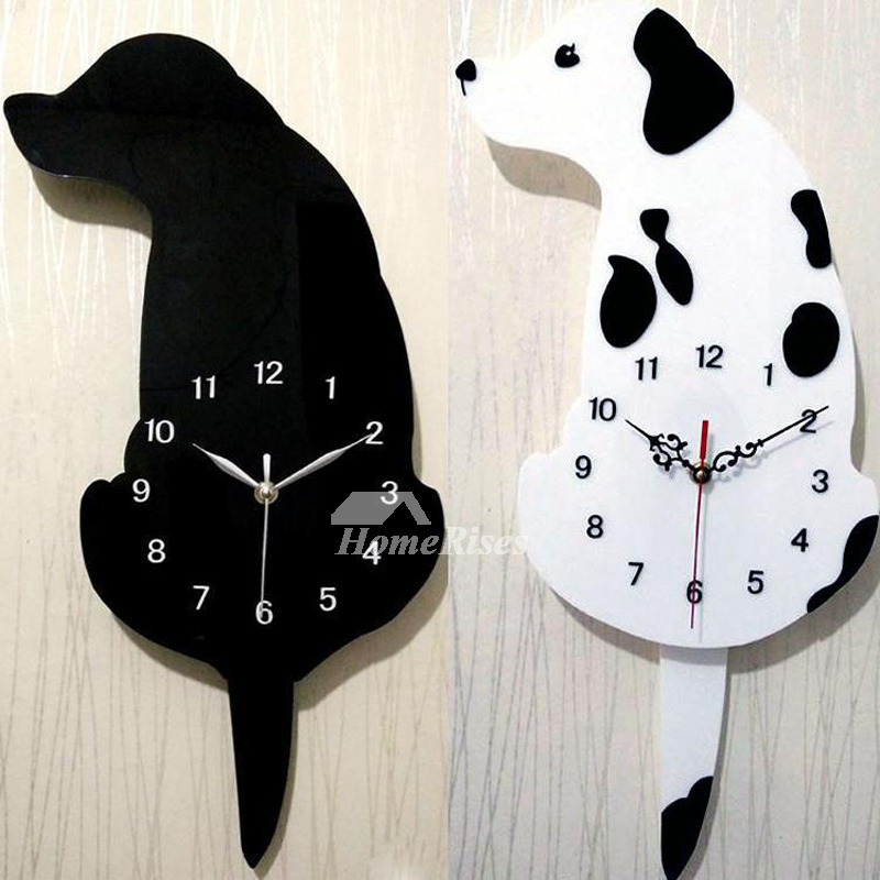 Kids Funny Wall Clocks Black Colorful Dog Decorative Quiet