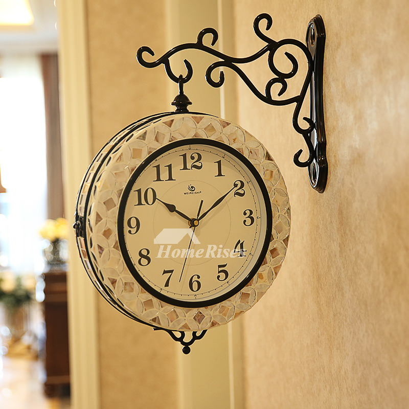 Double Sided Wall Clock Hanging Seashell Metal 13 Inch