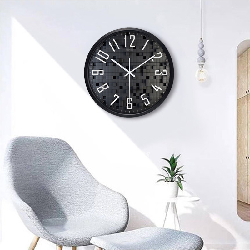 Black Wall Clock Silver White 12 14 16 Inch Round Living
