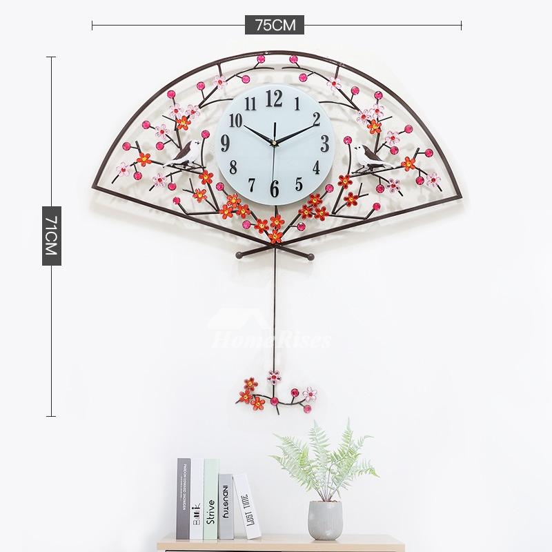 Decorative Wall Clocks Gold Red Fan Shaped 26 30 Inch