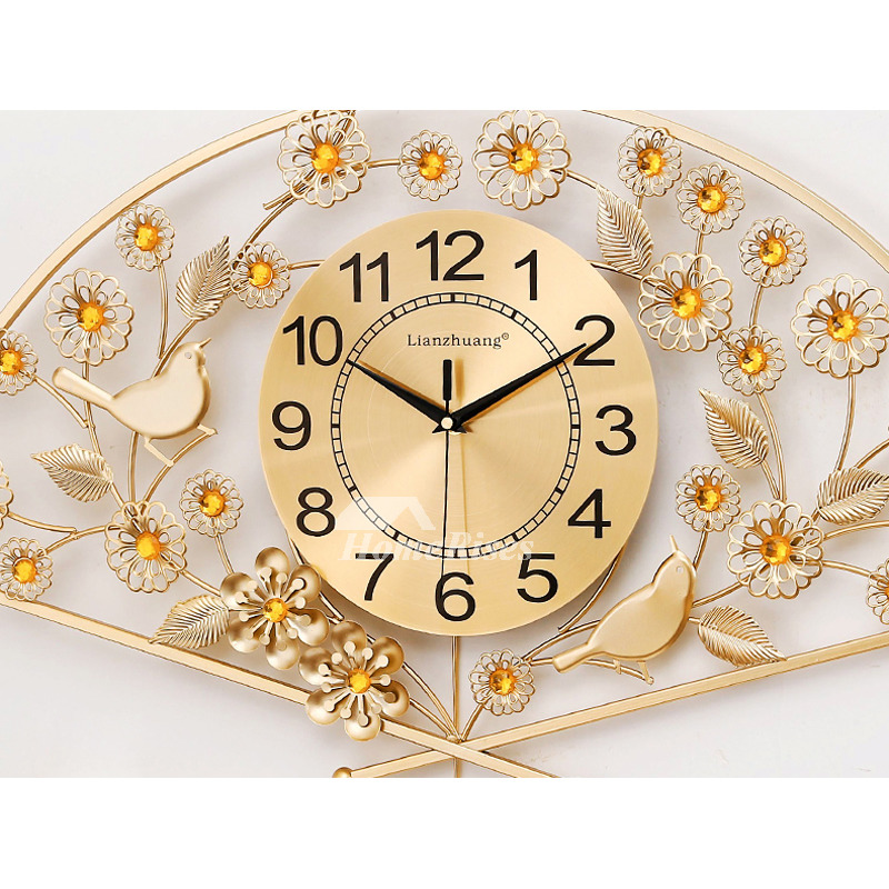 Decorative Wall Clocks Gold Red Fan Shaped 26 30 Inch