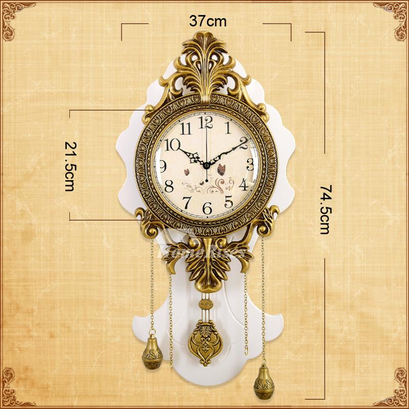 Farmhouse Clock Wooden Metal Pendulum Rustic Living Room White