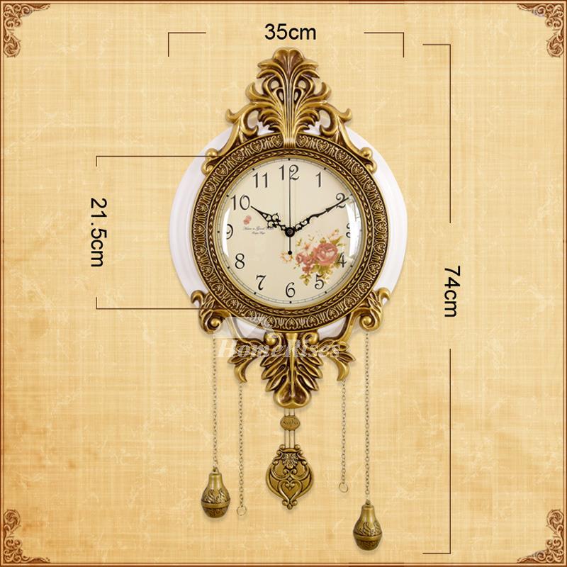 Wooden Round Wall Clock 14 Inch Metal Pendulum Quiet Brown