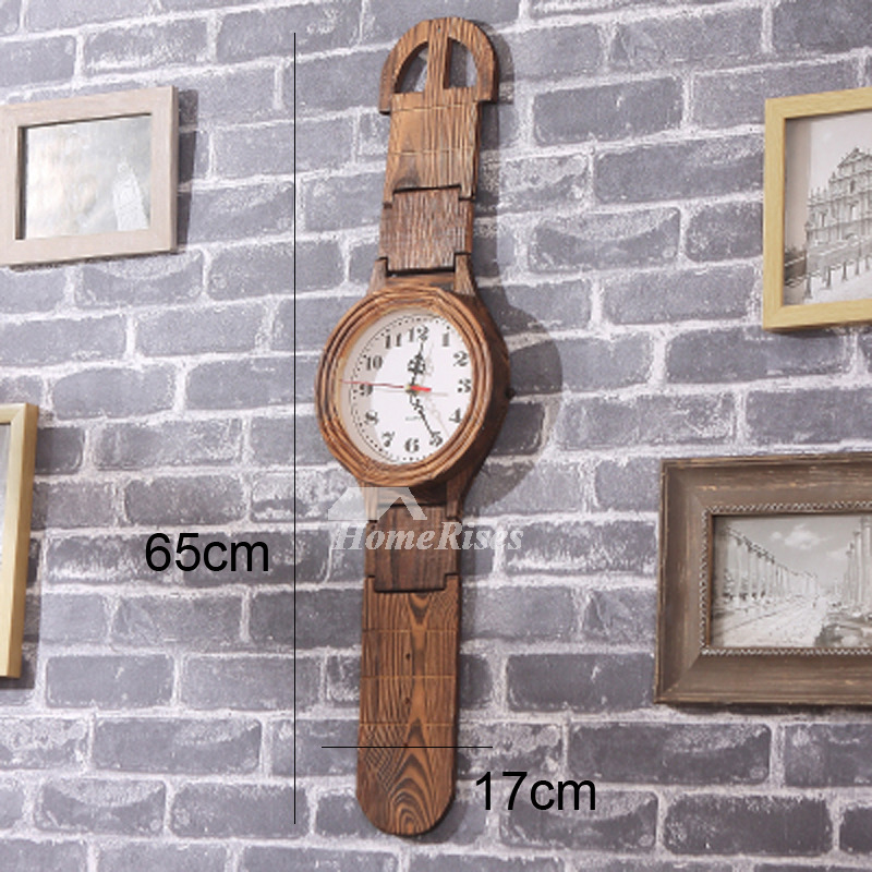 Rustic Wall Clock Wooden Glass Hanging Creative Living