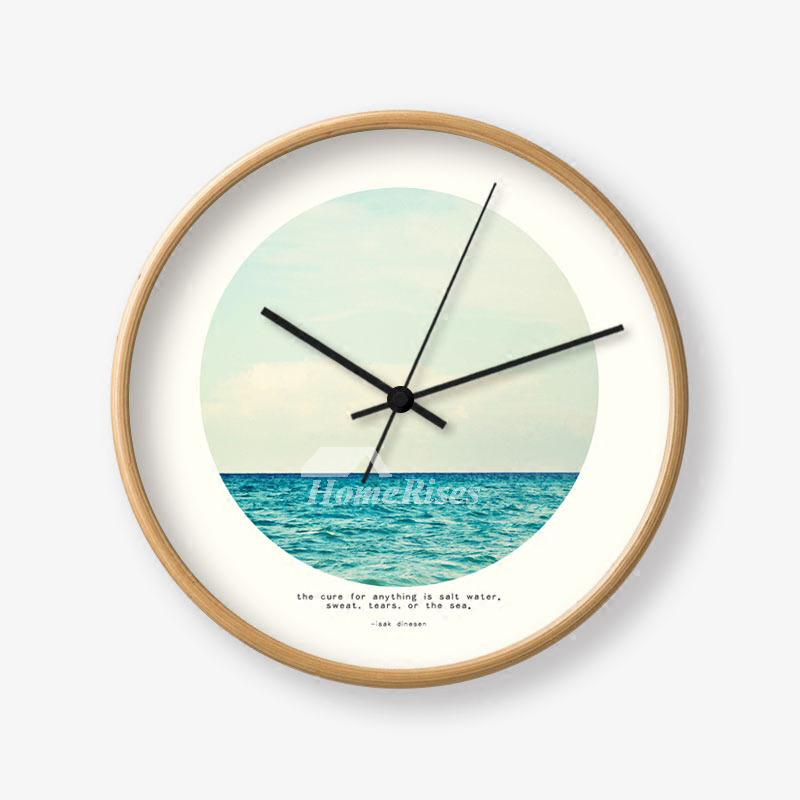 Round Wall Clock 12 Inch Wooden Glass Living Room Creative Unique