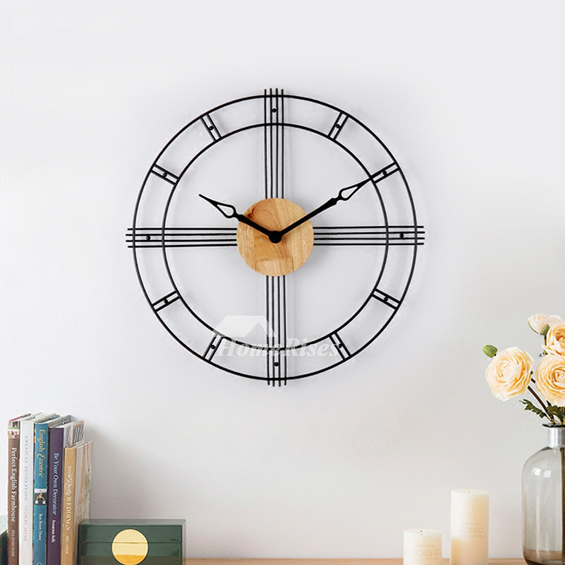 Industrial Metal Wall Clock Wooden Black 23 Inch Oversized