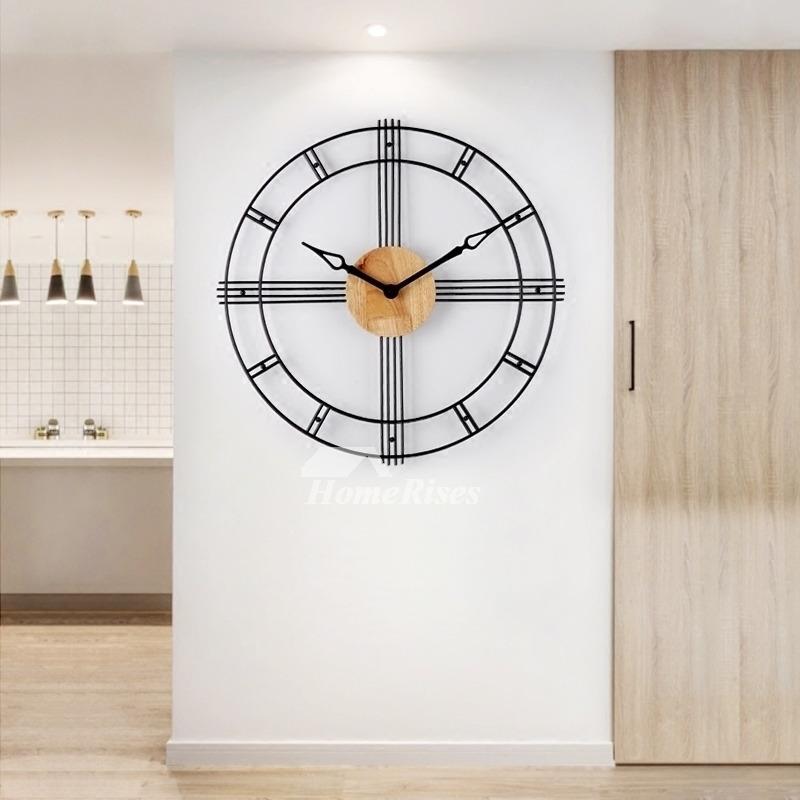 Industrial Metal Wall Clock Wooden Black 23 Inch Oversized