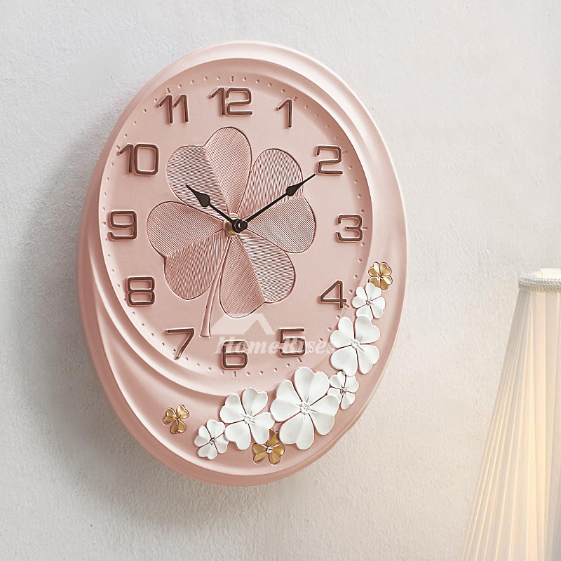 Pink Wall Clock Green Cute Resin Quiet Oval 11 Inch Living Room ...