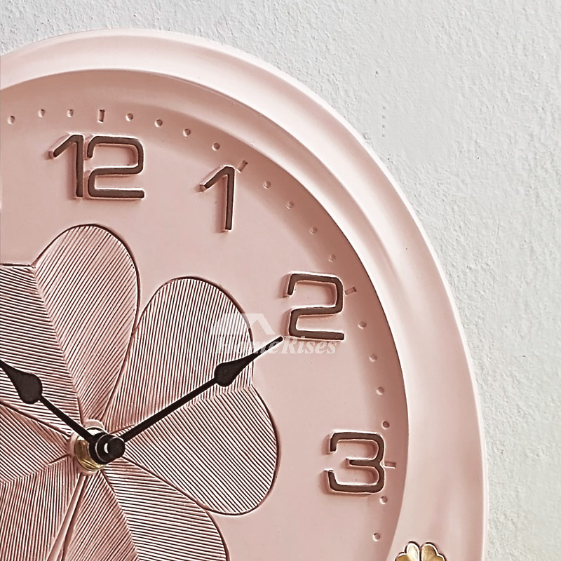 Pink Wall Clock Green Cute Resin Quiet Oval 11 Inch Living