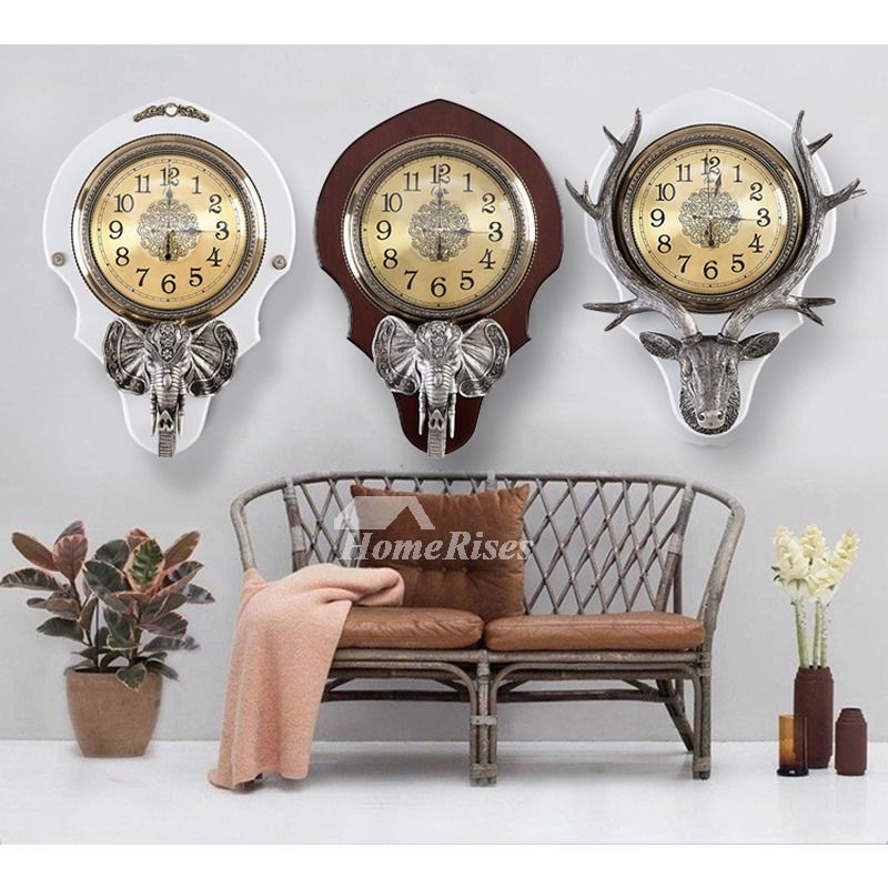Decorative Wall Clocks Resin Glass Antler Creative Living