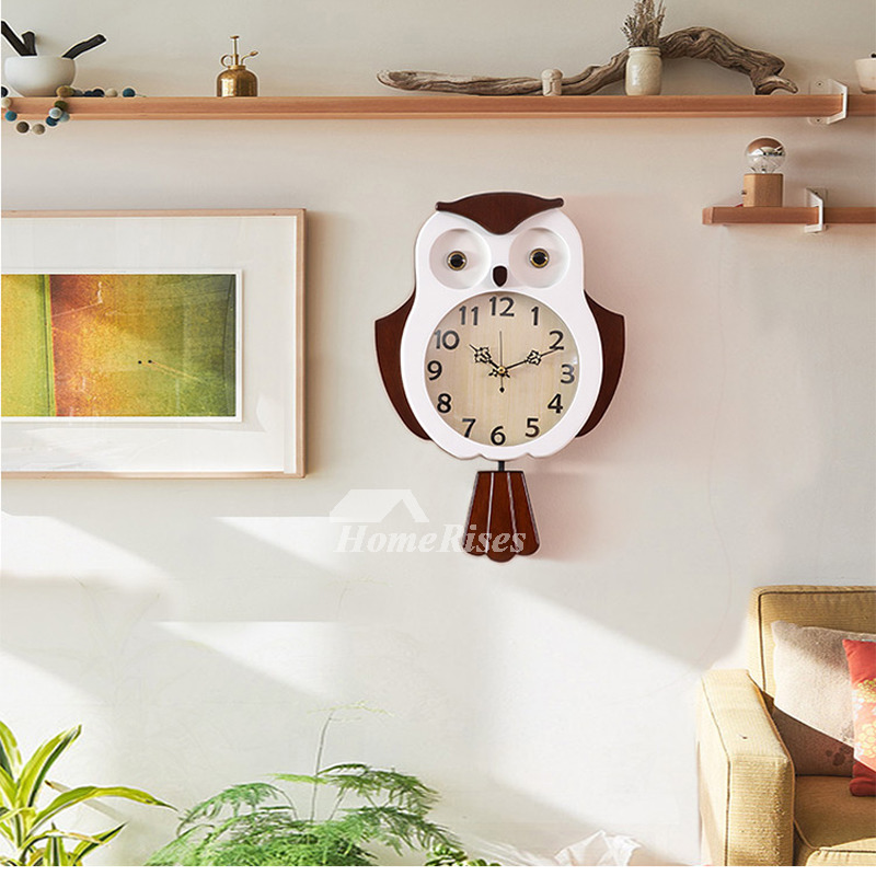 Novelty Wall Clocks Wooden Glass Pendulum Creative Unique 12 Inch