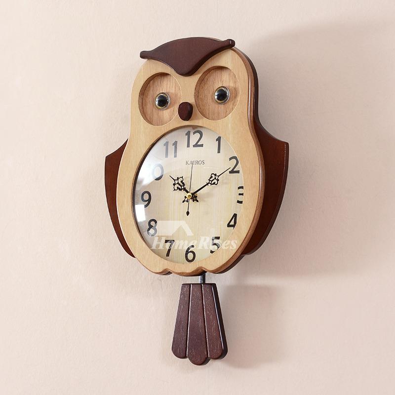 Novelty Wall Clocks Wooden Glass Pendulum Creative Unique
