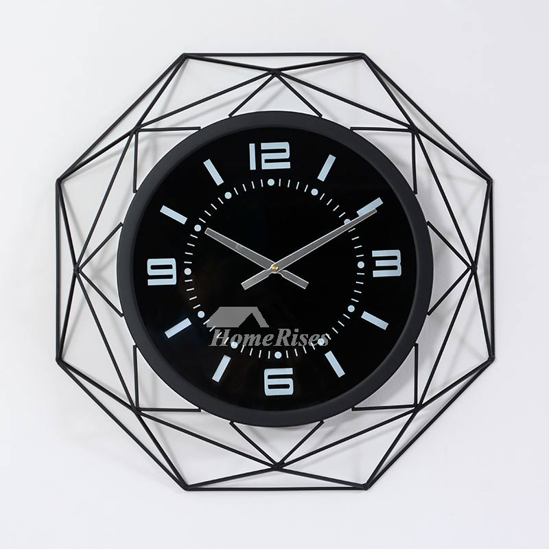 Oversized 20 Inch Cool Clocks Unique Metal Glass Black