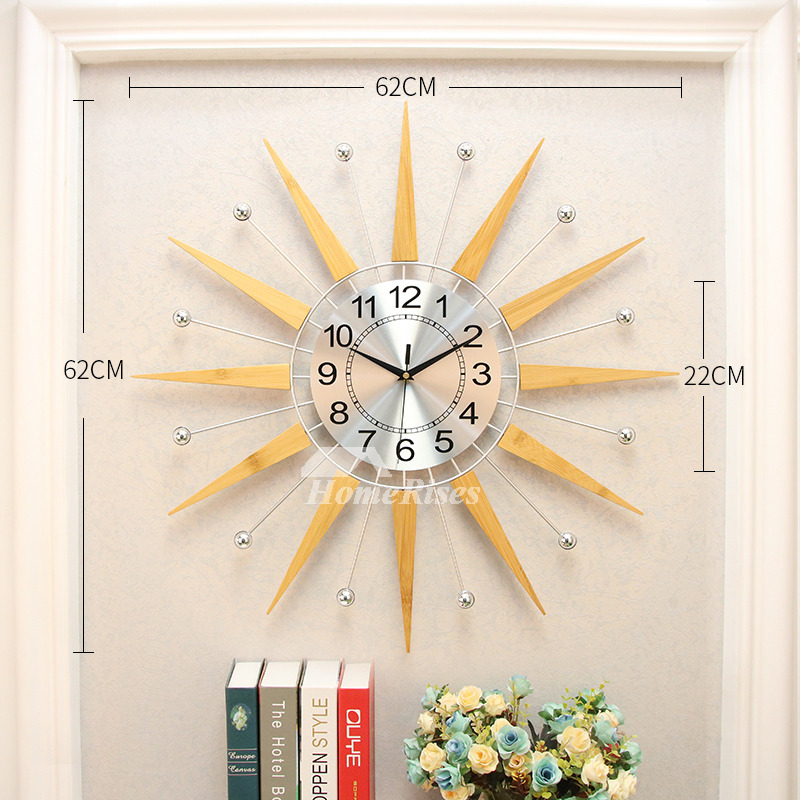 Starburst Wall Clock Novelty 24 Inch Oversized Metal Wooden Unusual